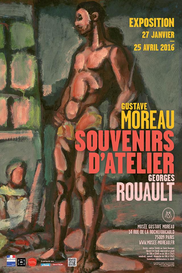 """Affiche de l'exposition """"Gustave Moreau - Georges Rouault. Souvenirs d'atelier"""""""