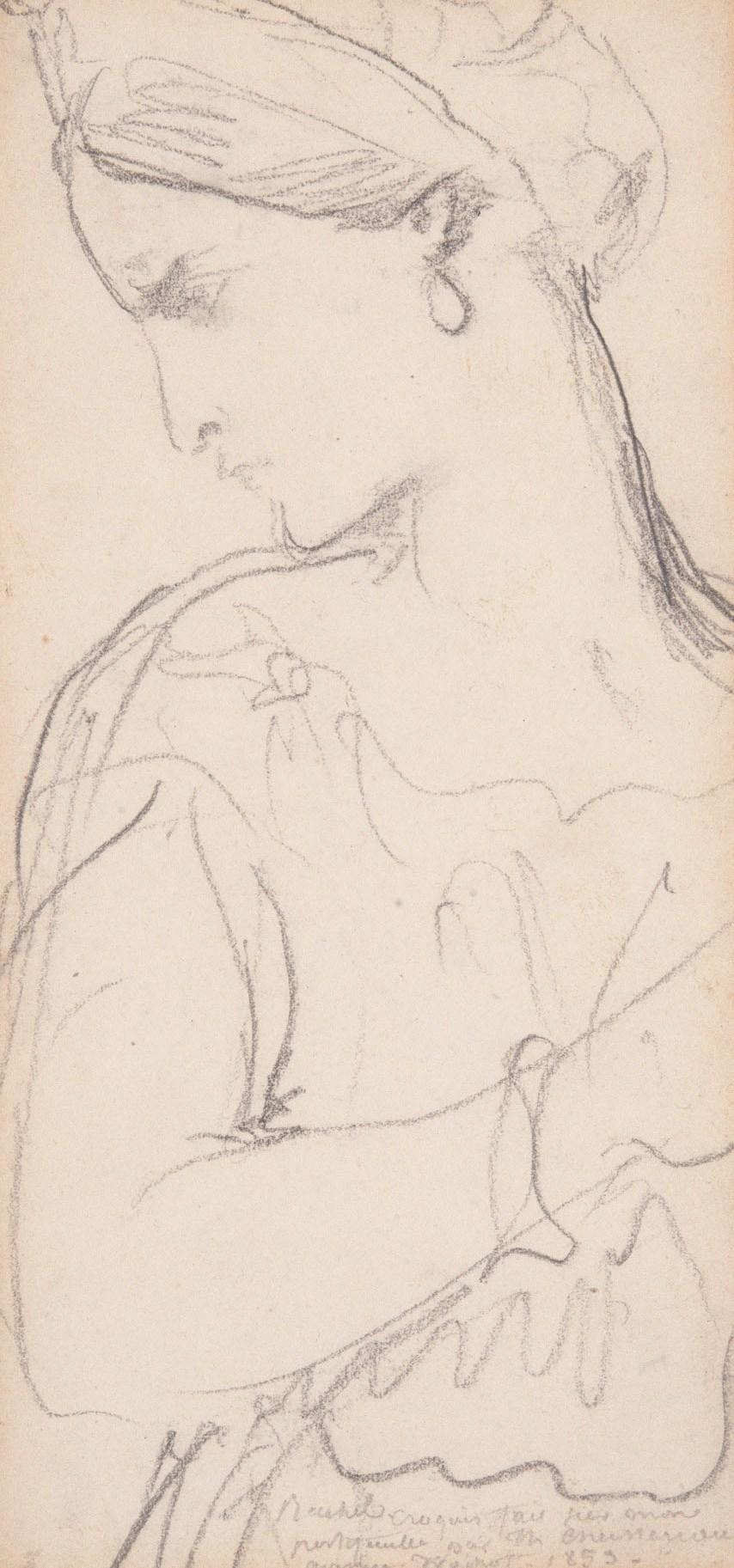Portrait de Rachel dessiné par Théodore Chassériau et exposé dans le couloir du musée Gustave Moreau